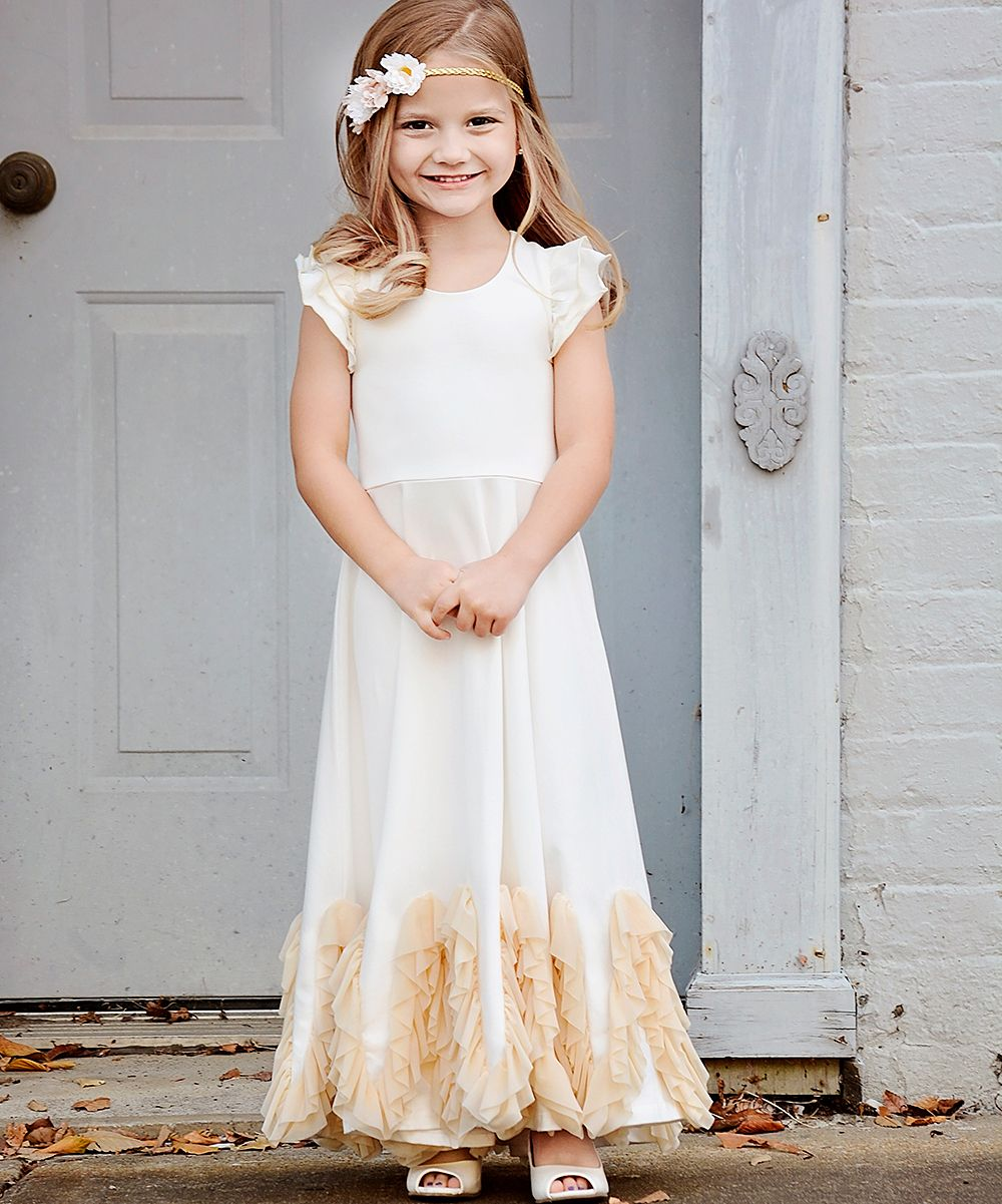 23976ac39d9b Ivory Ruffle-Hem Angel-Sleeve Dress - Infant Toddler & Girls | Products