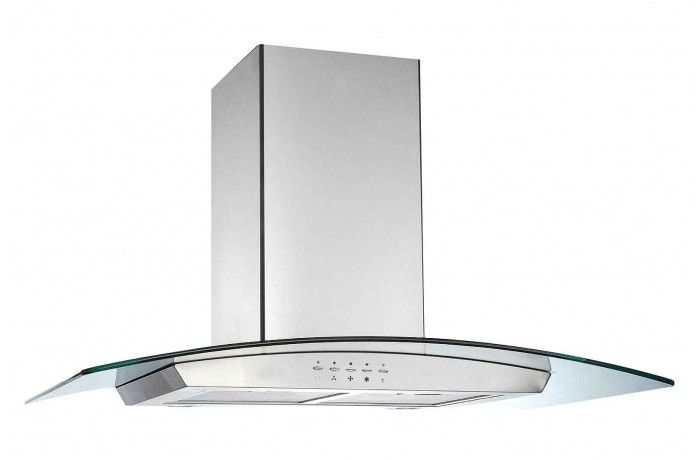 Glemgas 90cm Curved Glass Canopy Rangehood Stainless Steel Range Hood Curved Glass Range Hood