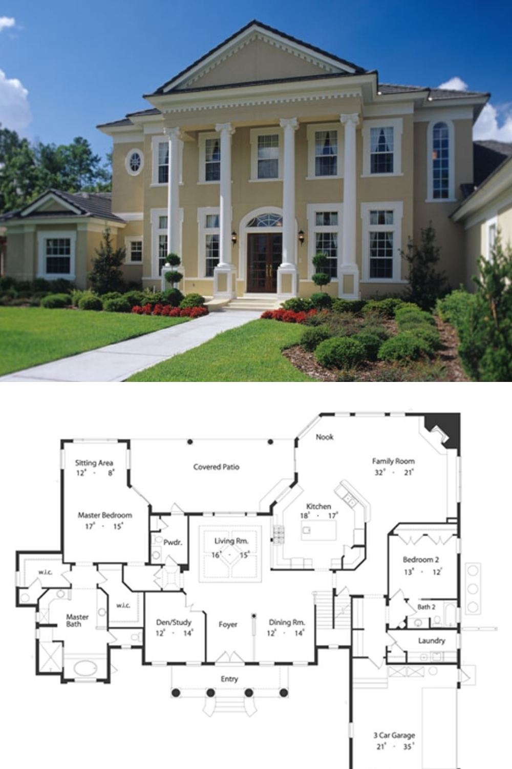 5 Bedroom Two Story Colonial Home Floor Plan Southern House Plan Luxury Floor Plans House Floor Plans