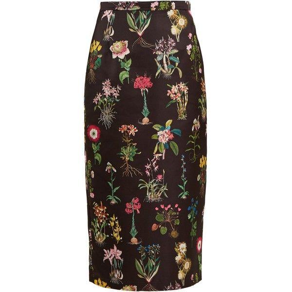 1ede8767995bab 21 Botanical-print duchess-satin pencil skirt ($316) ❤ liked on Polyvore  featuring skirts, black print, floral pencil skirts, floral skirt,  floral-print ...