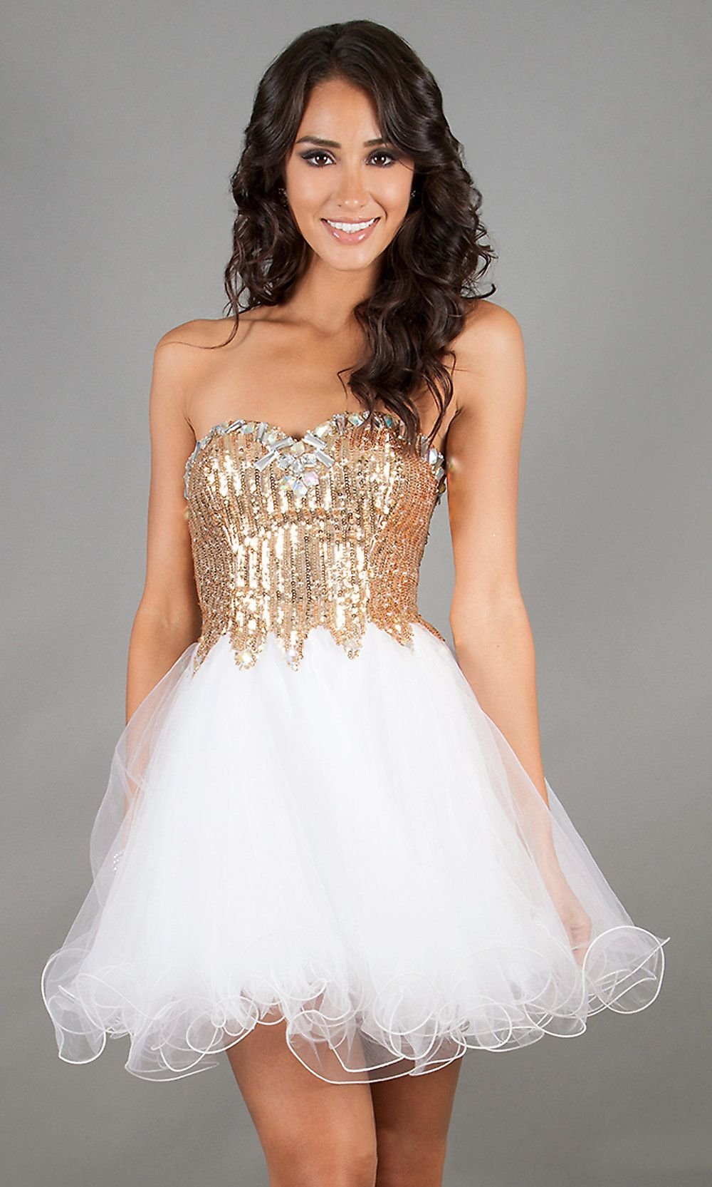 Sparkling Short White Gold Sequin Homecoming Dress Lace Up Back