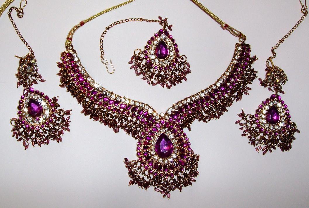 indian jewelry | Purple & Gold Indian Jewellery Set | ♢Beautiful ...