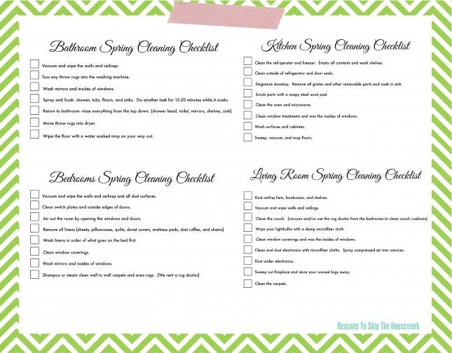 11 Free Printable Checklists to Help You Conquer Spring Cleaning - sample spring cleaning checklist