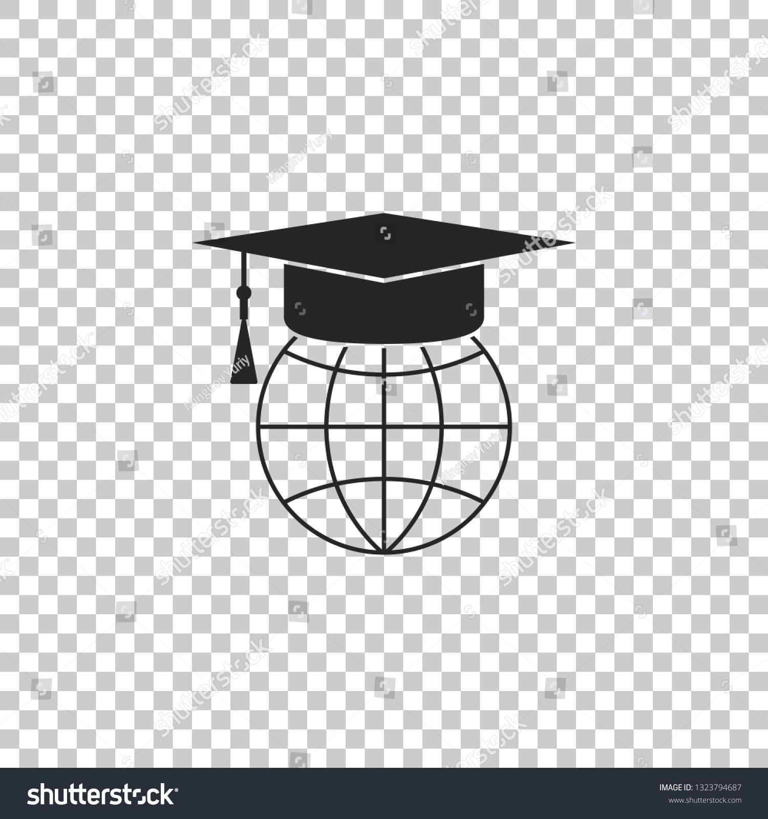 Graduation Cap On Globe Icon Isolated On Transparent Background