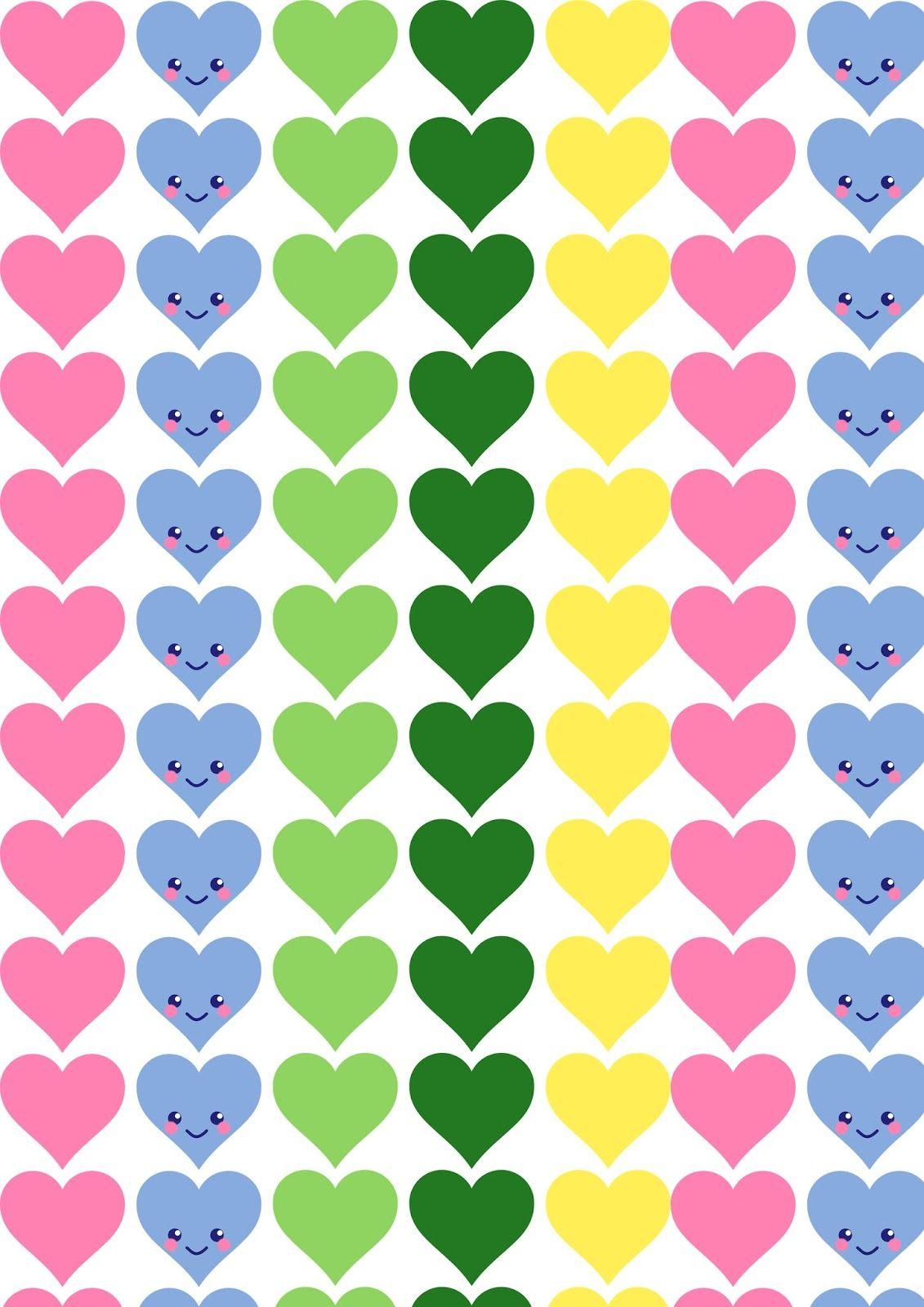 Scrapbook paper kawaii - Free Printable Kawaii Heart Pattern Paper Valentines