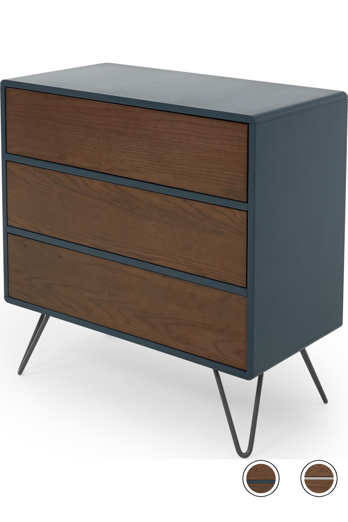 Ukan Chest Of Drawers Blue And Dark Stain Oak Bedroom Chest Of