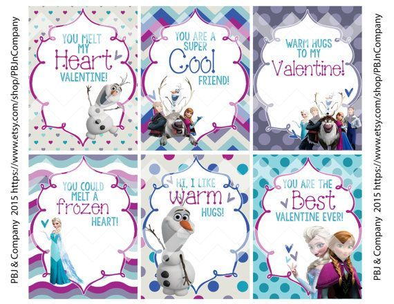 Frozen Printable Valentine's Day Cards Digital File by ...