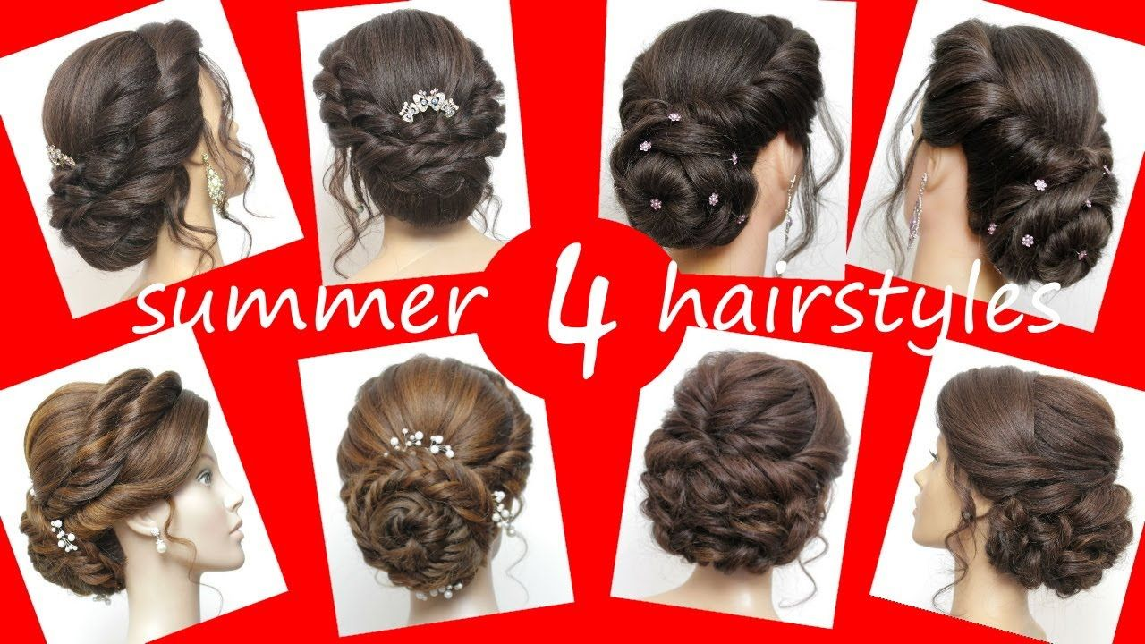 4 Summer & Easy Updo Hairstyles   Wedding Prom Updo Tutorial - YouTube in 2020   Easy updo ...