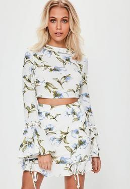 White Crepe Floral Frill Hem Lattice Detail Mini Skirt