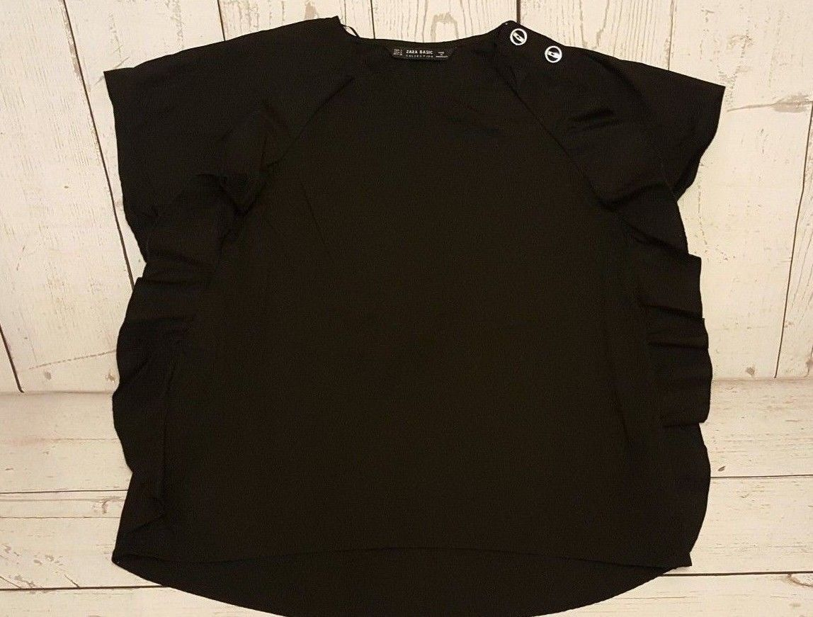 dbbf6a7a 14.99   Zara Basic Collection Women's Black Ruffle Blouse Top Size Small ❤  #collection