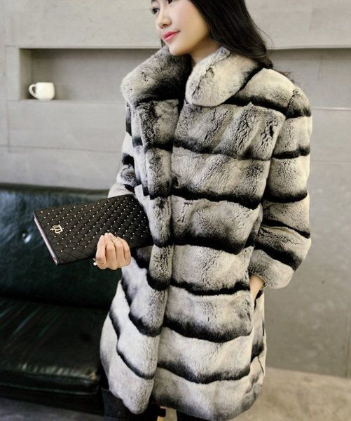 342db35a6ee High Quality Chinchilla Fur Coats for Women with Real Rex Rabbit with Hood