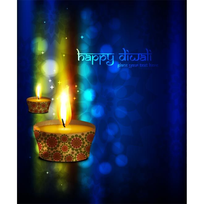 Vector Glowing Diya Lamp On Abstract Glowing Blue Background
