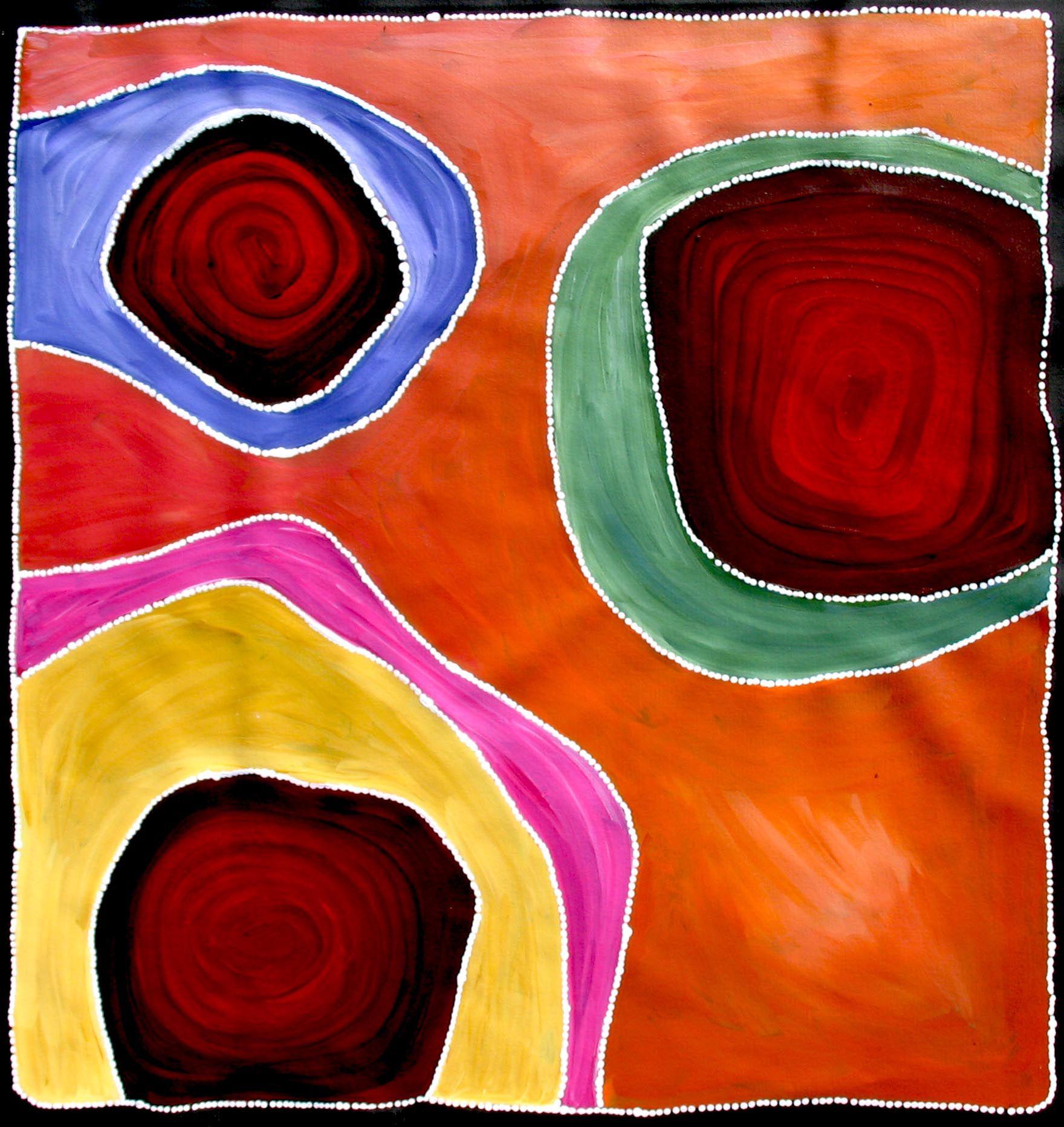 Aboriginal Artwork By Sally Clark Sold Through Coolabah Art On