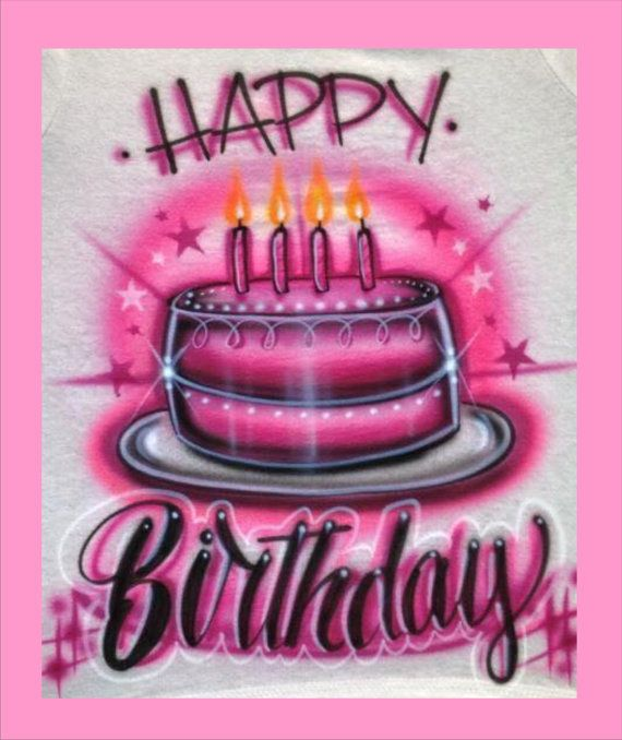 Happy Birthday Shirt T Customized Airbrush Kunst Digitale Hintergrunde Clipart