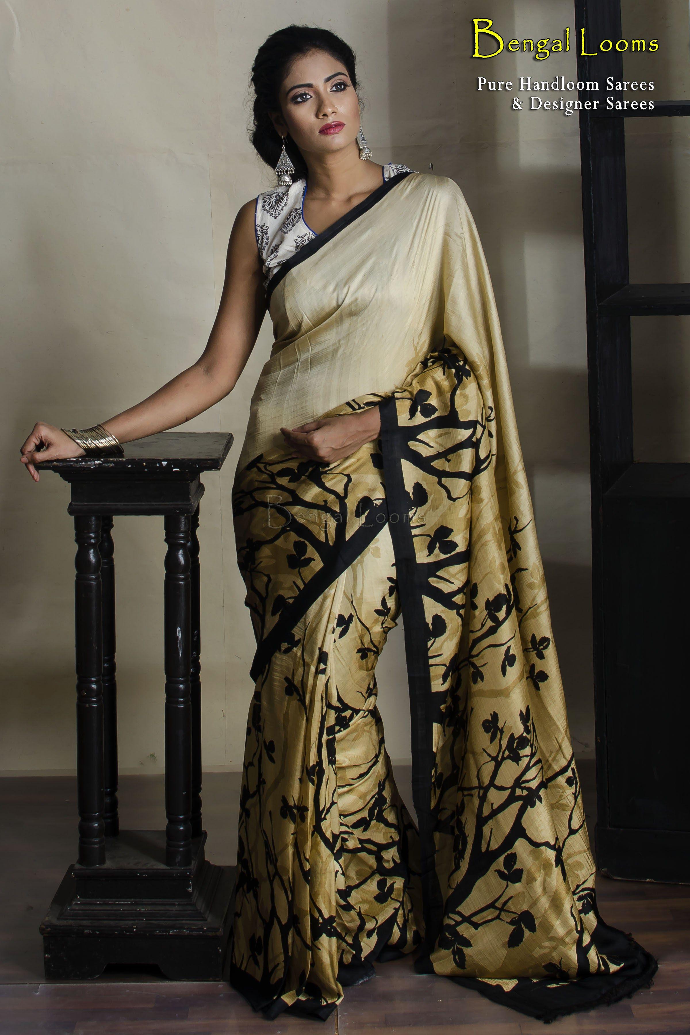 e9fa63b042 Beautiful Pure Digital Print Crepe Silk Saree in Cream , Beige and Black  color combination.