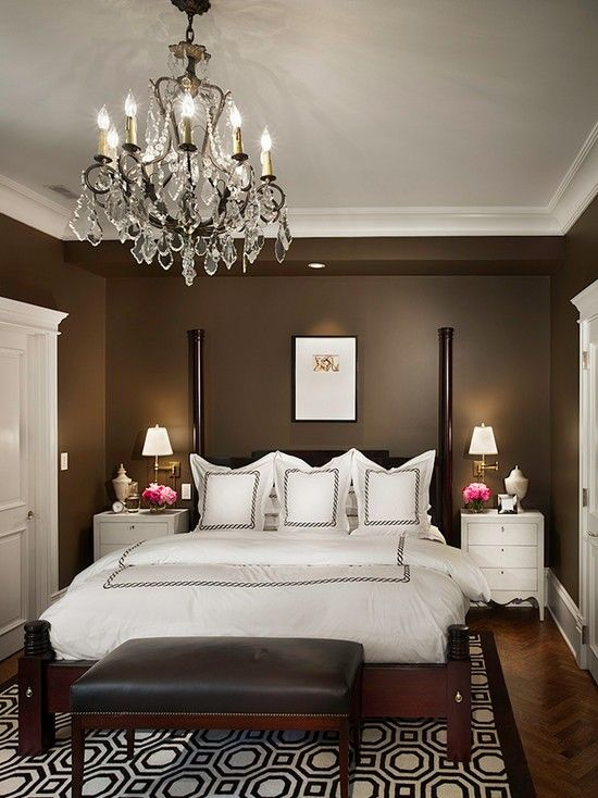 Chocolate walls.. Dark bed.. White bedding.. Very luxurious and cozy! I absolutely LOVE this!! I may be painting my walls!!