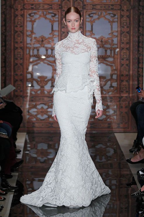 Lace wedding dress with high neckline from Reem Acra, Fall 2013