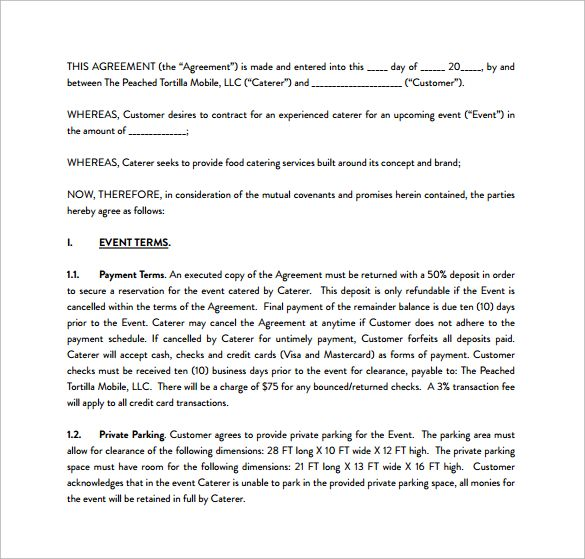 Sample Catering Contract PDF Template Free Download Catering - Mutual Agreement Contract Sample