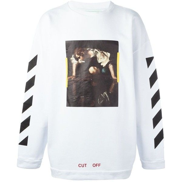 Off-White 'painting' print striped sweatshirt (1.420 BRL) ❤ liked on Polyvore featuring men's fashion, men's clothing, men's hoodies, men's sweatshirts, tops, white, mens white sweatshirt and mens striped sweatshirt