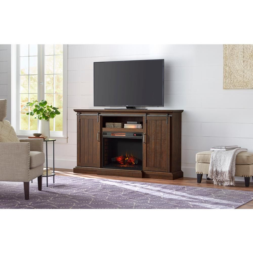 Home Decorators Collection Chastain 68 In Freestanding Media Console Electric Fireplace Tv Stand With Sliding Bar Door In Rustic Walnut 118069 The Home Depot Fireplace Tv Stand Electric Fireplace Tv Stand Electric Fireplace