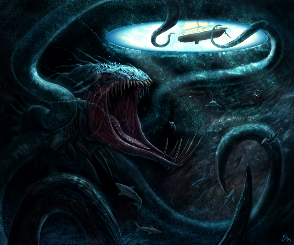 Blue Hole Beast Thalassophobia Dark Fantasy Art Sea Monsters Sea Monster Art