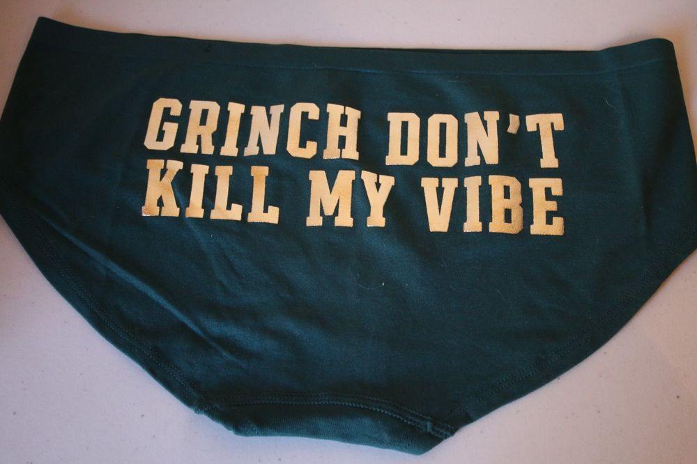 """PINK Victoria's Secret Panties Green """"Grinch Don't Kill My Vibe"""" Hipster - Large #VictoriasSecret #Hipster"""