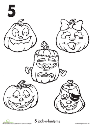 halloween preschool holiday counting numbers worksheets the number 5 and jack o lanterns - Cute Jack Lantern Coloring Page