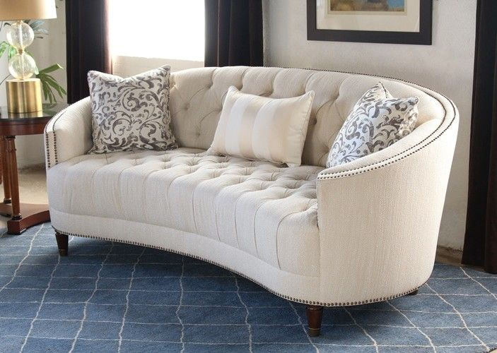 Sf164 Curved Back Button Tufted Sofa With Nailhead Trim