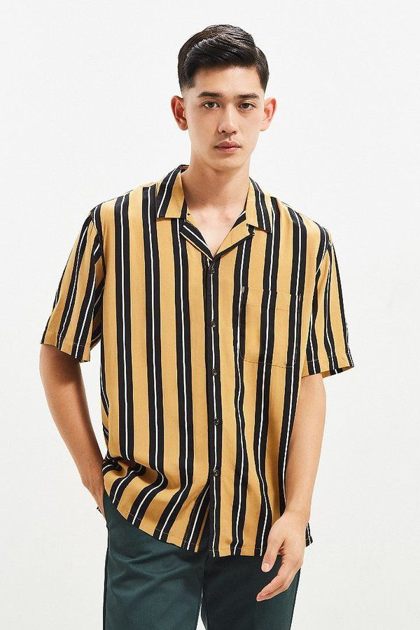 1eaf335d74df UO Rayon Vertical Stripe Short Sleeve Button-Down Shirt   Products ...