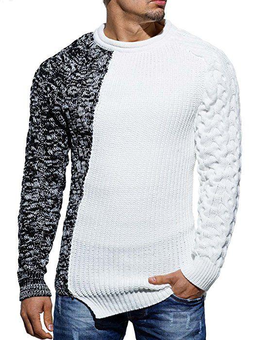 Shoppen Sie Pullover Herren Strickpullover Strick Pulli Winter asymetrisch  Zopfstrick Slim Fit Optik auf Amazon.de:Pullover