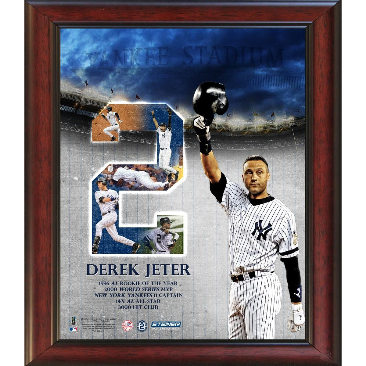 6d26c2c1c7f Derek Jeter 2 Career Highlight with Tipping Helmet Framed 11x14 Collage