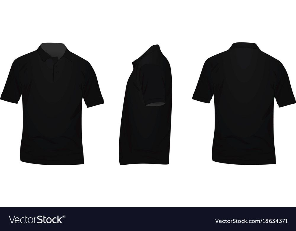 Download Black Polo T Shirt Front Back And Side View Download A Free Preview Or High Quality Adobe Illustrator Black Polo T Shirt Polo Shirt Design Black Polo Shirt