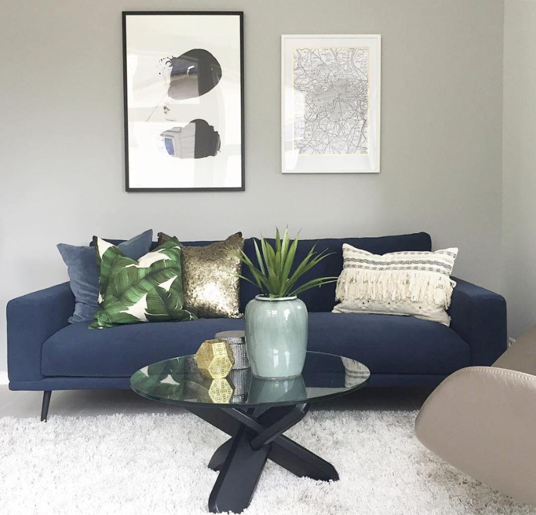 blue navy comfy sofa scandinavian interior design boconcept