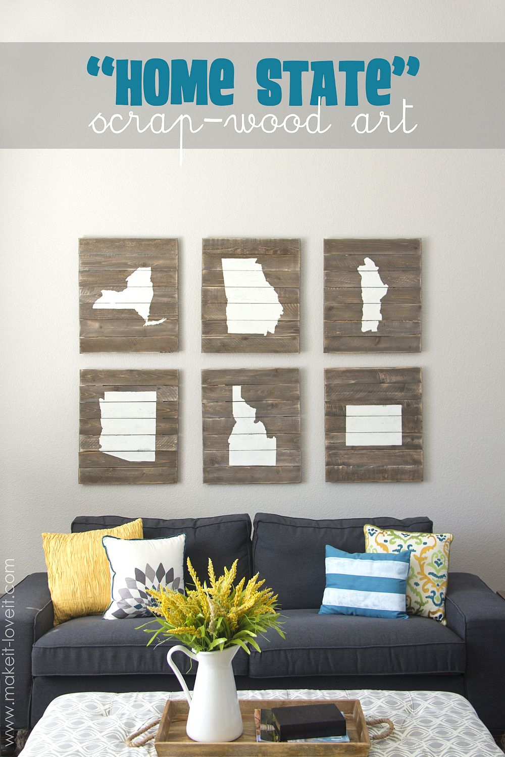 "Diy Home Wall Decor diy ""home state"" scrap-wood art.proudly display where you live"