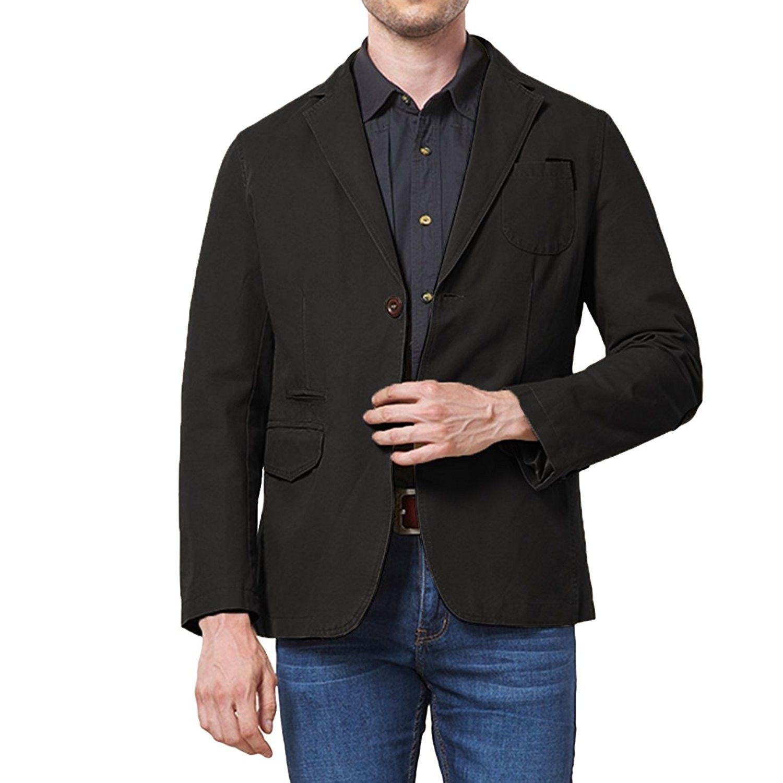 Men's Sport Coat Cotton Casual Slim Fit Elbow Patches
