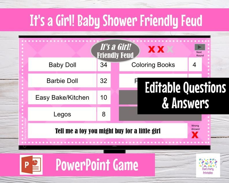 It's a Girl Baby Shower Friendly Feud - Editable PowerPoint Game - Customized Game - Baby Shower Par