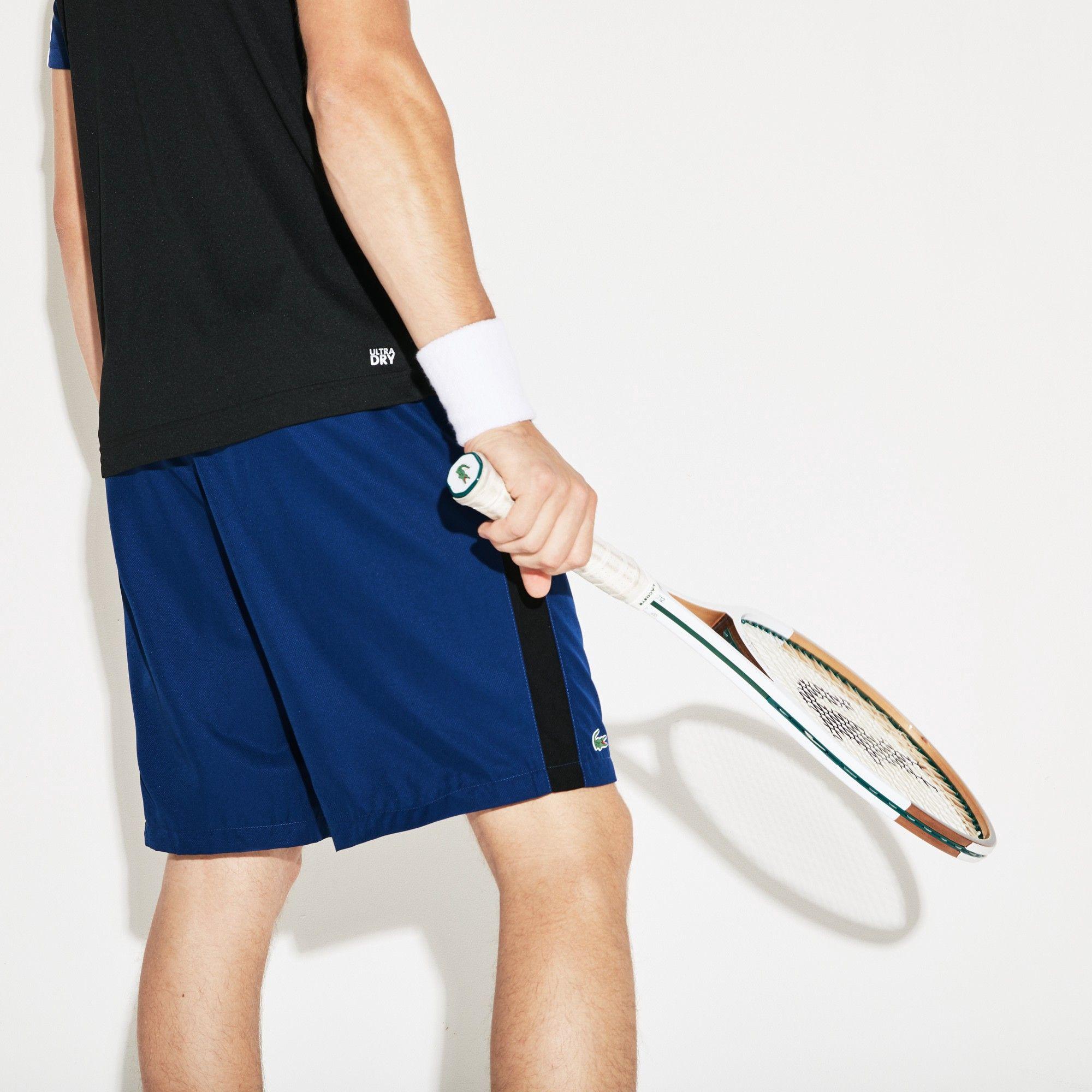 8381420cf8b3 Lacoste Men s Sport Colored Bands Taffeta Tennis Shorts - Navy  Blue Papeete-Menthol Xxl 7 Green