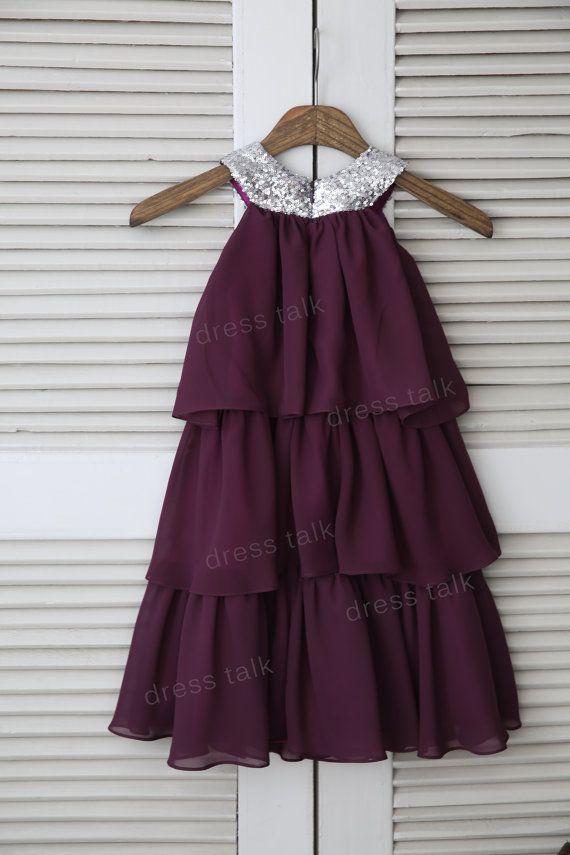 Purple Plum Chiffon Cupcake Flower Girl Dress Cupcake by dresstalk
