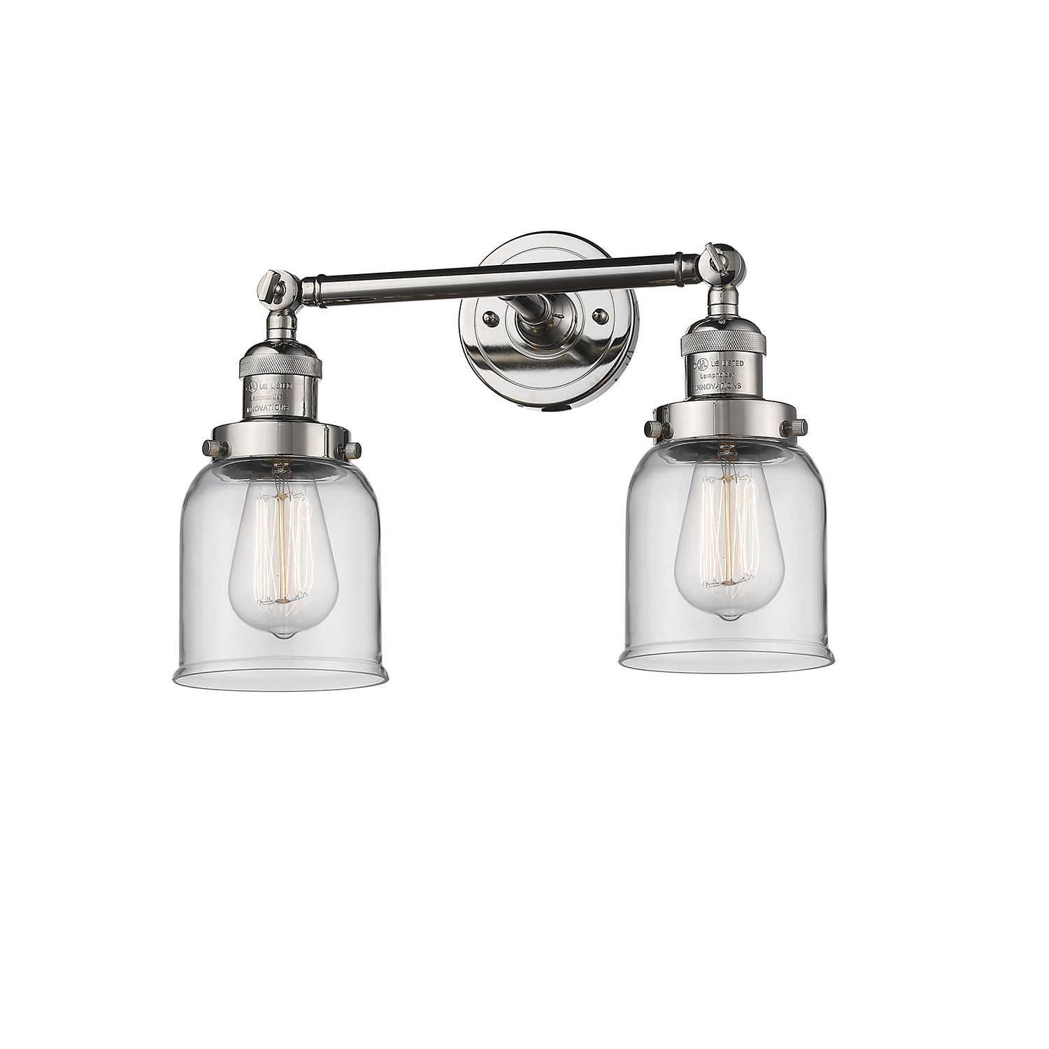 Photo of Innovations Lighting Small Bell Polished Nickel Two Light Bathroom Vanity With Clear …