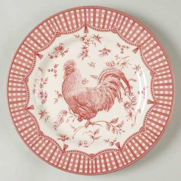 Four Queens China Rooster Red Pink Off White Dinner Plate