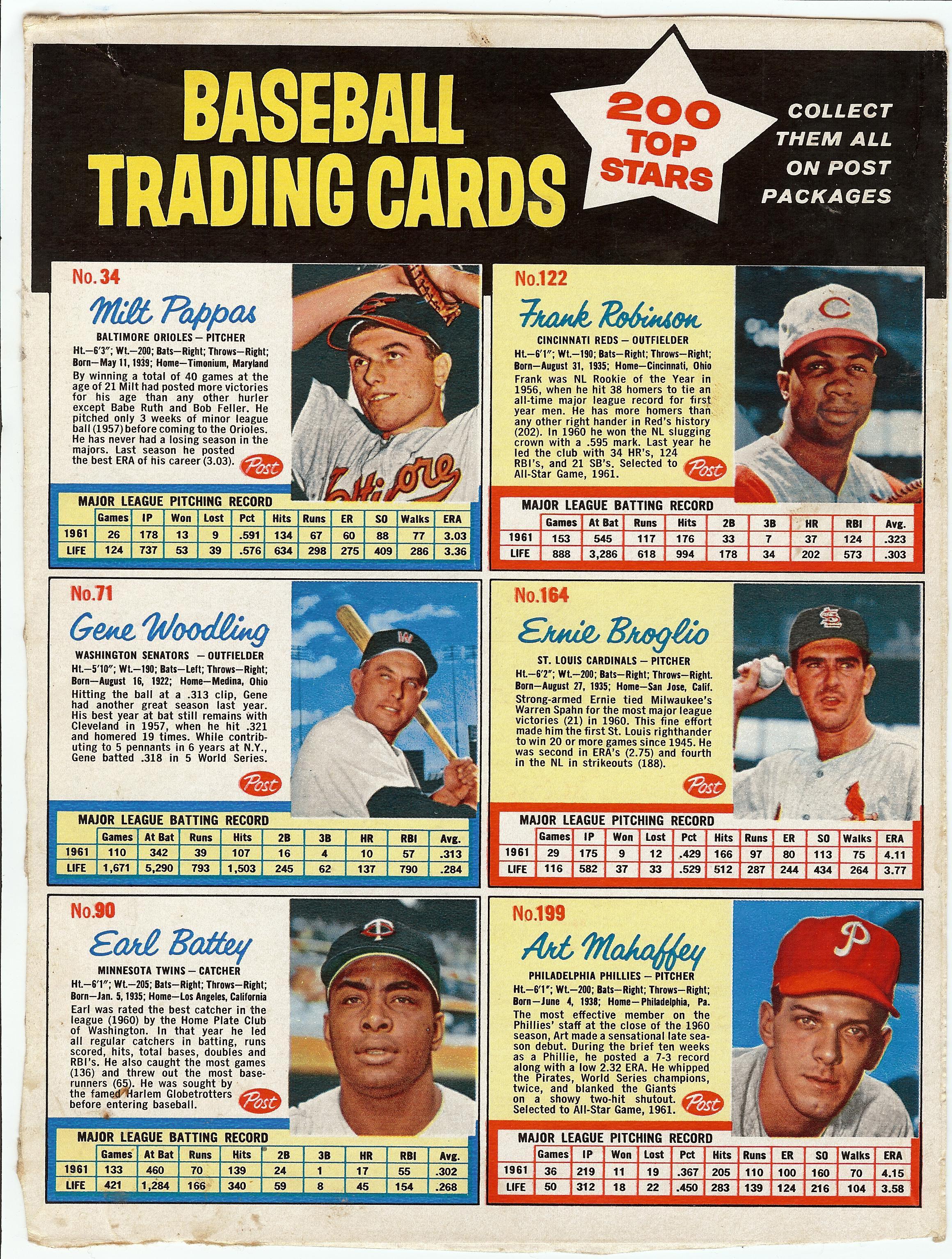 1962 Post Cereal Baseball Cards Baseball Cards Baseball Cards