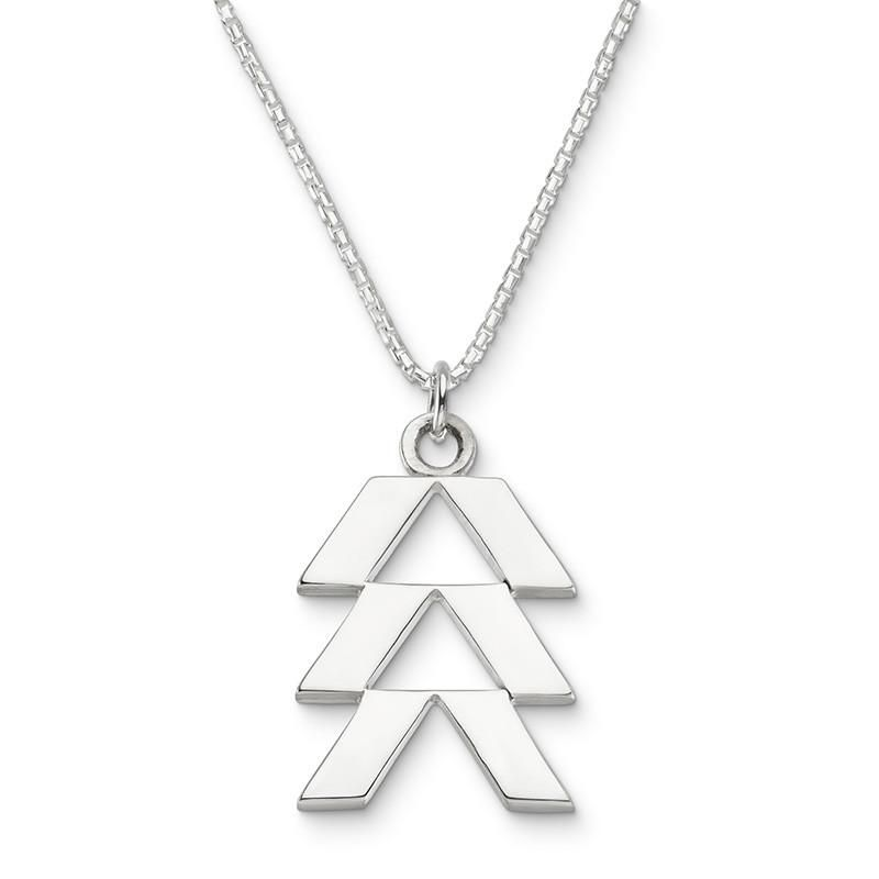 Sterling Silver Womens 1mm Box Chain 3D China Town Entrance Pendant Necklace