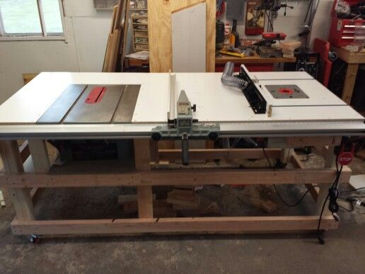 Table saw and router table station woodworking for Table saw table plans