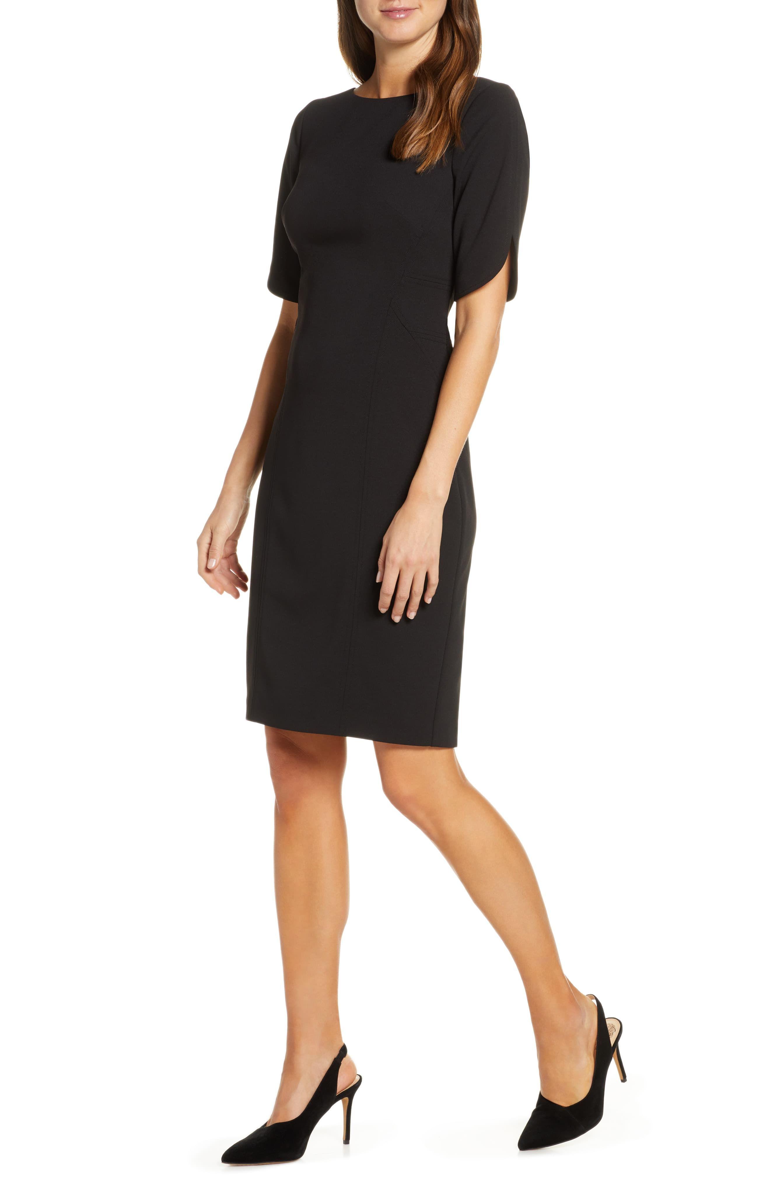 Vince Camuto Scuba Crepe Sheath Dress Nordstrom Black Sheath Dress Nordstrom Dresses Sheath Dress [ 4048 x 2640 Pixel ]