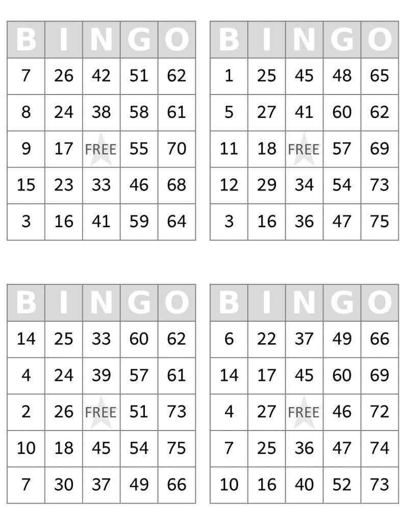 Pin On Bingo Cards Printable