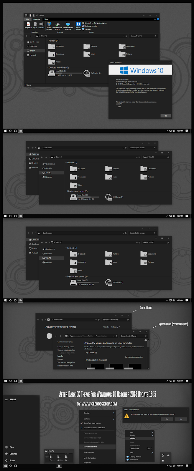 Windows10 Themes I Cleodesktop: After Dark CC Theme For Windows 10