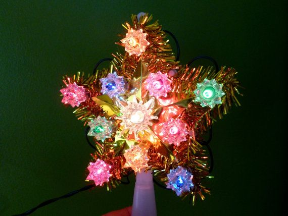 Vintage Christmas Tree Star Blinking Lights And Gold Tinsel By  - Christmas Tree Star