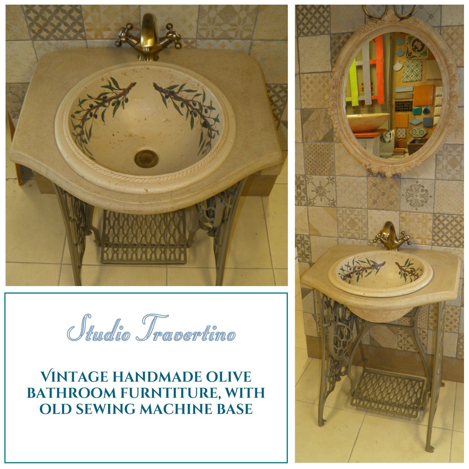 Handmade Olive Bathroom Furniture, With Old Sewing Machine
