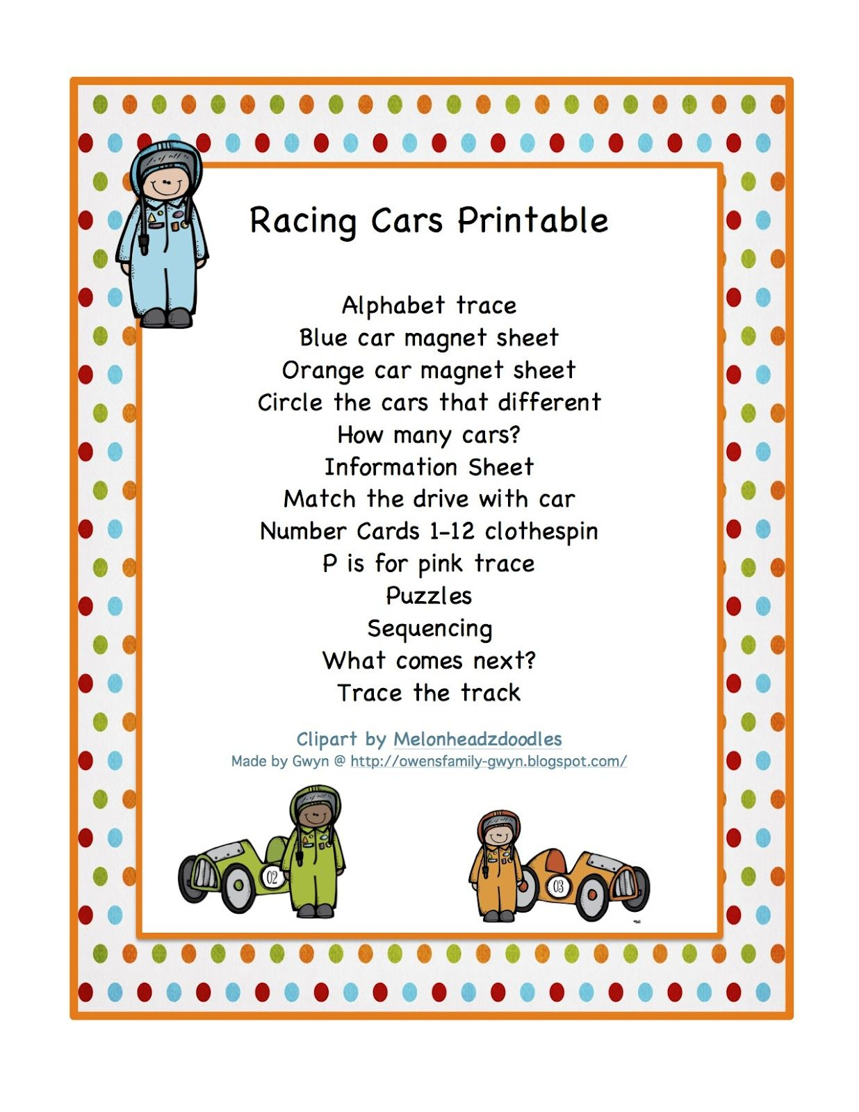 Race Cars Printable With Magnet Boards