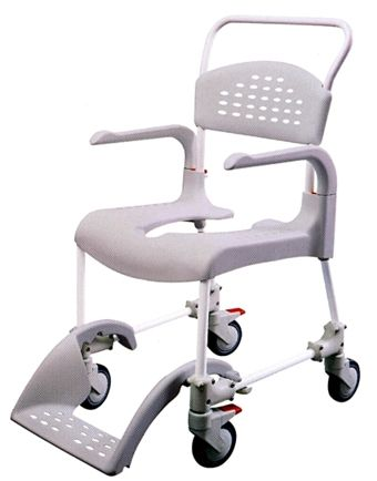 Etac Clean Wheeled Toilet Chair/Shower Chair Grey Height 44 cm ...